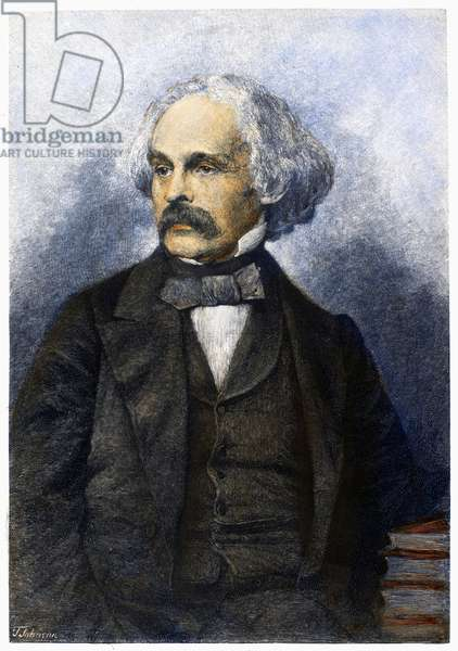 NATHANIEL HAWTHORNE (1804-1864). American writer. Wood engraving, 1886, by Thomas Johnson after a photograph of 1860.