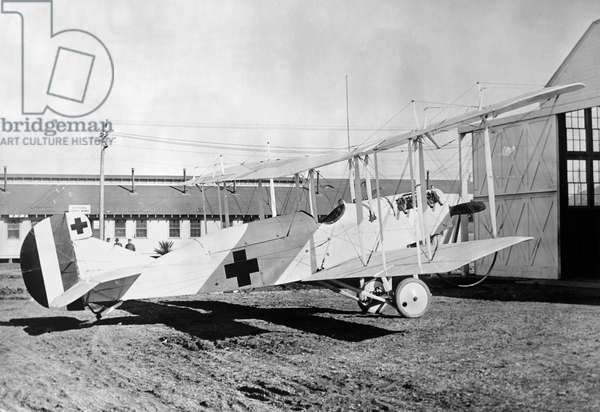 WORLD WAR I: RED CROSS A U.S. Army Red Cross hospital plane at the time of the First World War. Photographed c.1918.