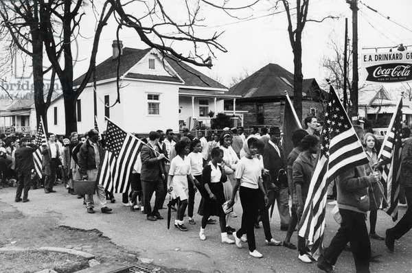 ALABAMA: CIVIL RIGHTS Participants in the march from Selma to Montgomery, Alabama. Photograph, March 1965.