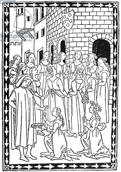 BALLATETTE, 1496 A ring of dancing girls before the cornice of a building with the Medici arms. Woodcut from 'Ballatette,' by Lorenzo de Medici, Politiano, et al, Florence, Italy, c.1496.