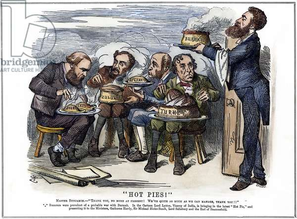 BRITISH IMPERIALISM, 1879 'Hot Pies!' An 1879 cartoon by John Tenniel depicting Lord Lytton, Viceroy of India, presenting British cabinet ministers with the prospects of war with Burma while they are already trying to cope with several other international crises.