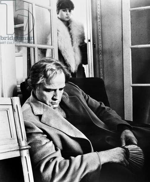 LAST TANGO IN PARIS, 1973 Marlon Brando and Maria Schneider in a scene from the film 'Last Tango in Paris,' directed by Bernardo Bertolucci, 1973.