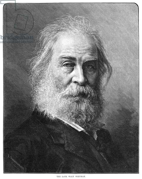 WALT WHITMAN (1819-1892) American poet. Engraving, American, 1892.
