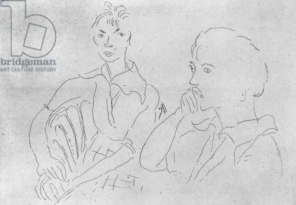 MATISSE: TWO WOMEN Etching of two women, c.1915, by Henri Matisse.