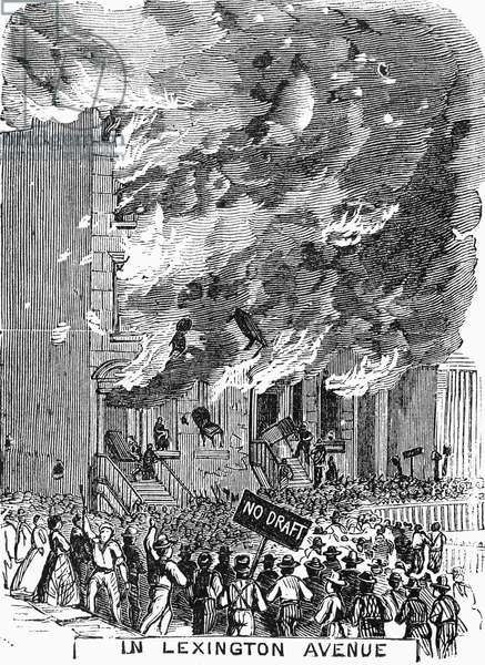 NEW YORK: DRAFT RIOTS 1863 An angry mob in Lexington Avenue during the New York City Draft Riots of 13-16 July 1863. Contemporary engraving from an American newspaper.