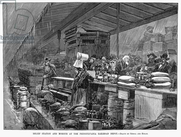 JOHNSTOWN FLOOD, 1889 The relief station and morgue at the Pennsylvania Railroad depot at Johnstown, Pennsylvania, after the town was destroyed on 31 May 1889. Wood engraving from a contemporary American newspaper.