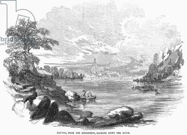 ILLINOIS: NAUVOO, 1854 View of Nauvoo, Illinois, from the Mississippi, looking down the river. Wood engraving, 1854.