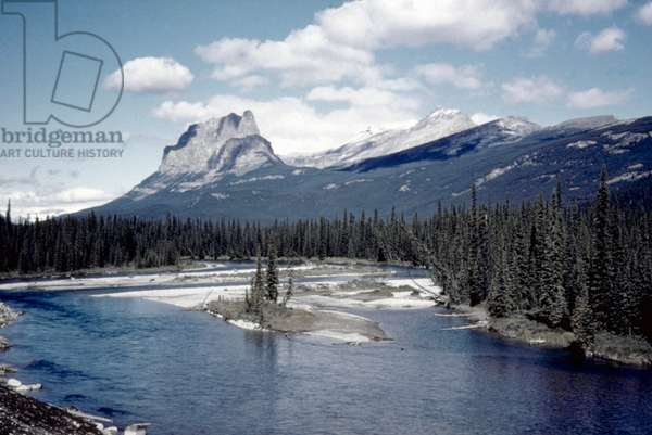 CANADA: ALBERTA Bow River and Mount Eisenhower.