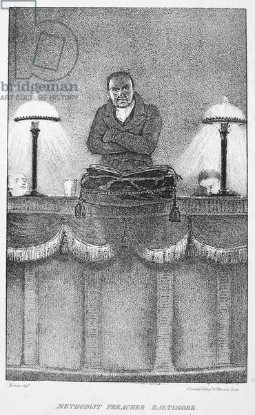 TROLLOPE: METHODIST 'Methodist Preacher Baltimore.' Lithograph illustration, 1832, from the first American edition of Mrs. Trollope's 'Domestic Manners of the Americans.'