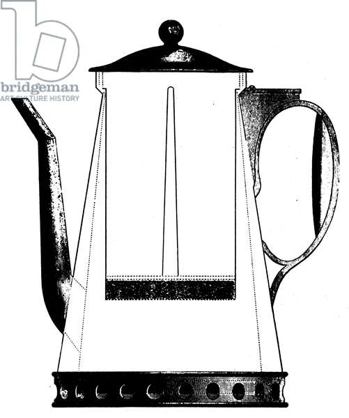 THOMPSON: DRIP COFFEE POT. One of the drip coffee pots invented by Benjamin Thompson, Count Rumford (1753-1814). American physicist and inventor. Line engraving, early 19th century.
