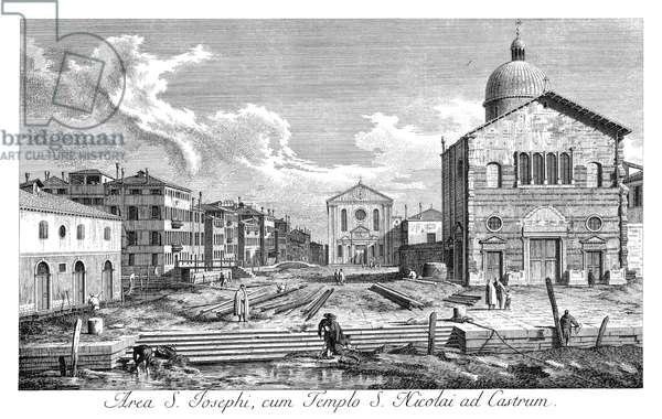 VENICE: CHURCH, 1735 Church of San Nicolo di Castello in Venice, Italy, with canal Rio di San Giuseppe in foreground and church San Giuseppe di Castello to left-center. Engraving, 1735, by Antonio Visentini after Canaletto.
