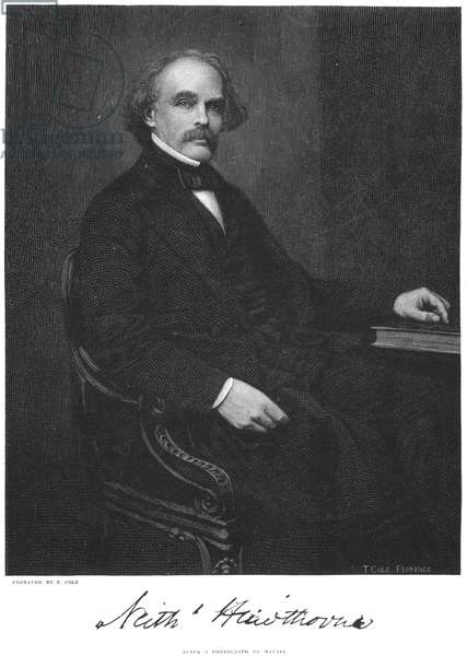 NATHANIEL HAWTHORNE (1804-1864). American writer. Wood engraving after a photograph.