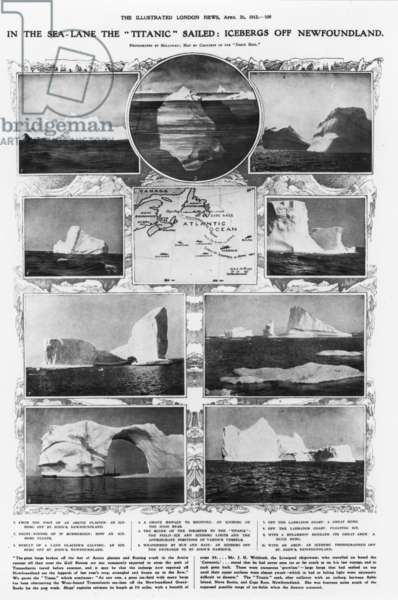 "TITANIC: ICEBERGS, 1912 Icebergs off Newfoundland, where the ""Titanic"" sank, April 14-15, 1912."