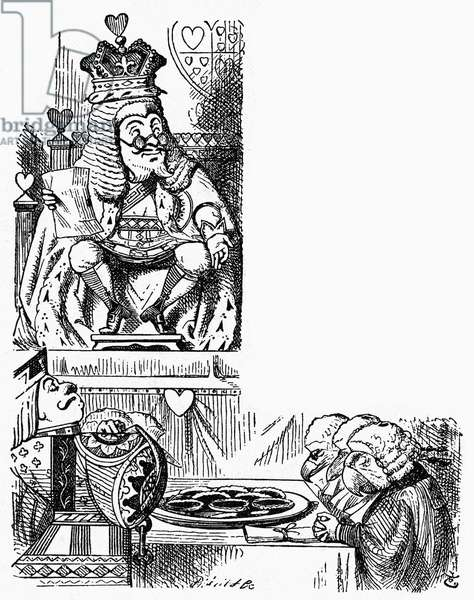 ALICE IN WONDERLAND, 1865 The trial of the Knave of Hearts. Illustration by John Tenniel for the first edition of Lewis Carroll's 'Alice's Adventures in Wonderland,' 1865.