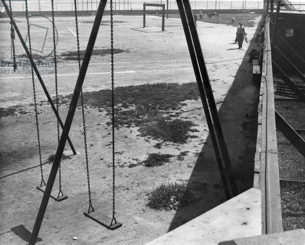 ELLIS ISLAND, c.1944 Playgrounds at Ellis Island. Photograph, c.1944.