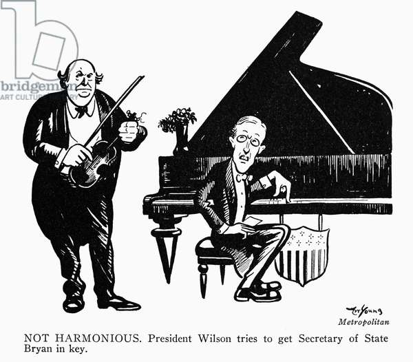 WOODROW WILSON CARTOON 'Not Harmonious.' President Wilson tries to get Secretary of State Bryan in key.' Early 20th century cartoon by Art Young.
