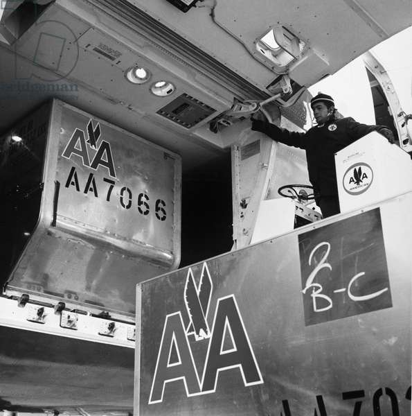 AMERICAN AIRLINES CARGO A man loading cargo onto a Boeing 747 airplane operated by American Airlines. Photograph, late 20th century.