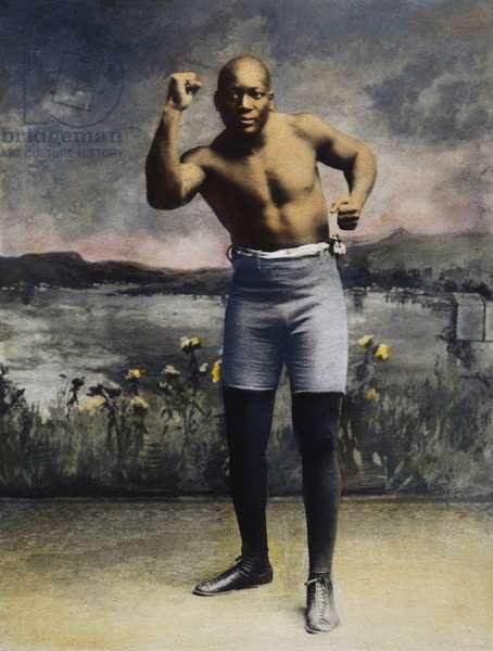 JACK JOHNSON (1878-1946) American boxer. Oil over a photograph, 1910.
