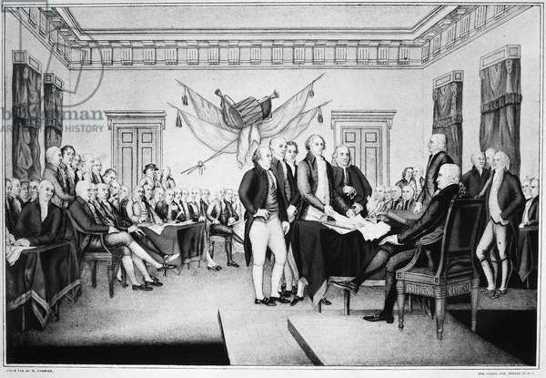 DECLARATION OF INDEPENDENCE The signing of the Declaration of Independence in Congress at the Independence Hall, Philadelphia, Pennsylvania, 4 July 1776. Lithograph by Nathaniel Currier after the painting by John Trumbull.