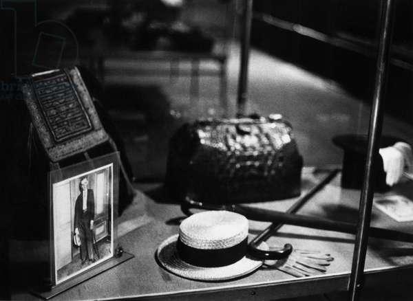 NIKOLA TESLA (1856-1943) American electrician, physicist, and inventor. Born in Croatia, of Serbian parents. Display of mementos belonging to Tesla.