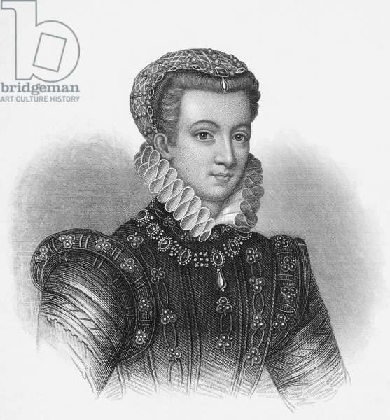 MARY, QUEEN OF SCOTS (1542-1587). Mary Stuart, Queen of Scotland, 1542-1567. At age 17. Stipple engraving, English, 19th century.