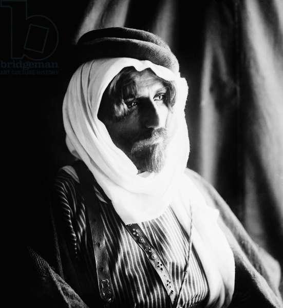 BEDOUIN MAN, c.1910 A Bedouin bridegroom. Photograph, c.1910.
