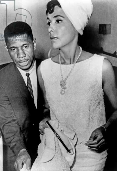 LENA HORNE (1919-2010) American singer. Photographed with Medgar Evers at a civil rights rally in Jackson, Mississippi, 1963.