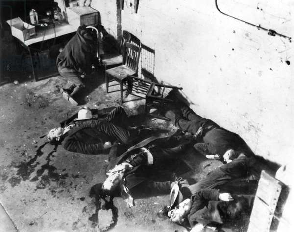 ST. VALENTINE'S MASSACRE Five of the seven 'Bugs' Moran gang members gunned down by Al Capone's rival gang, 14 February 1929, in Chicago, in a dispute over the city's bootlegging industry during Prohibition.