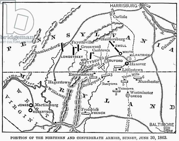 CIVIL WAR: GETTYSBURG Map showing the positions of the Union and Confederate forces at the Battle of Gettysburg, 1-3 July 1863.