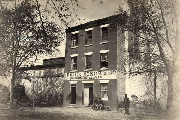 VIRGINIA: SLAVE DEALER Union Army guards in front of a slave-dealing establishment of Price, Birch, and Co. in Alexandria, Virginia. Photograph, c.1861.
