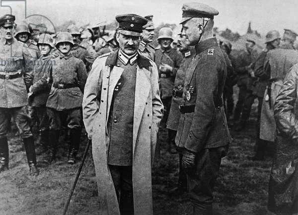 LUDENDORFF & RICHTHOFEN German general Erich Ludendorff (left) with German aviator Manfred von Richthofen. Photograph, c.1918.