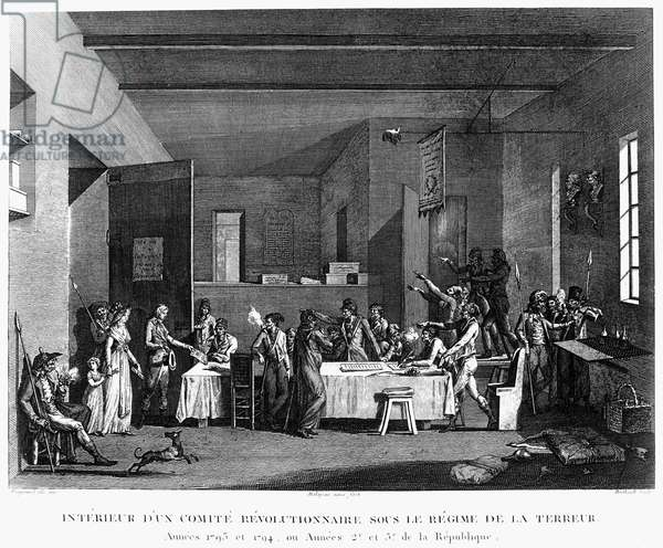 FRENCH REVOLUTION, 1793 An aristocratic family before a revoutionary committee during the Reign of Terror, 1793-94. Etching, French, 1817.