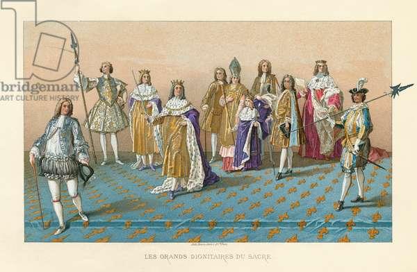 LOUIS XV (1710-1774) King of France, 1715-1774. 'Les grands dignitaires du sacre.' At his coronation on 25 October 1722, at Reims Cathedral. Also pictured are Thomas de Dreux-Brézé, Claude Louis Hector de Villars; Joseph de Lorraine, Count of Harcourt; the Archbishop of Reims; Duc de Villeroy; and Joseph Fleuriau d'Armenonville. Chromolithograph, 1875.