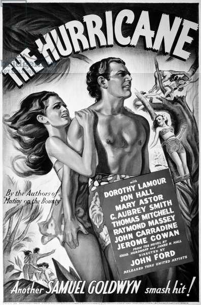 FILM: THE HURRICANE, 1937 American poster for the film 'The Hurricane' starring Dorothy Lamour and Jon Hall, directed by John Ford, 1937.