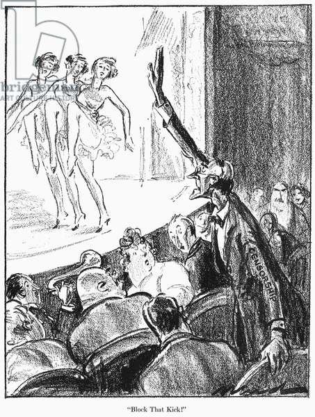 CENSORSHIP CARTOON, 1924 'Block That Kick!' American cartoon on censorship, 1924.