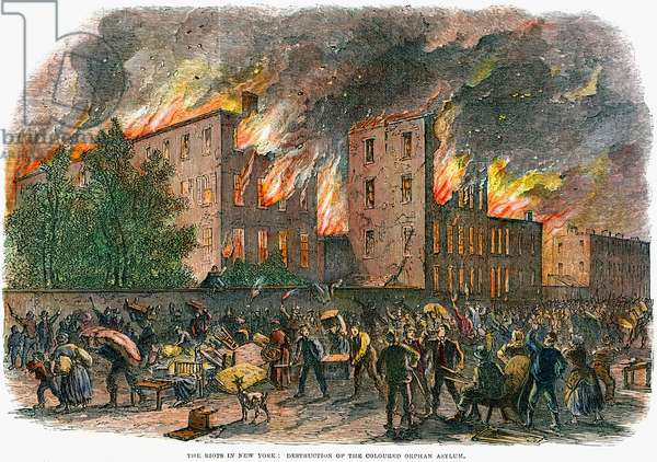 NEW YORK: DRAFT RIOTS 1863 The destruction of the coloured  orphan asylum during the New York City Draft Riots of 13-16 July 1863. Contemporary American wood engraving.