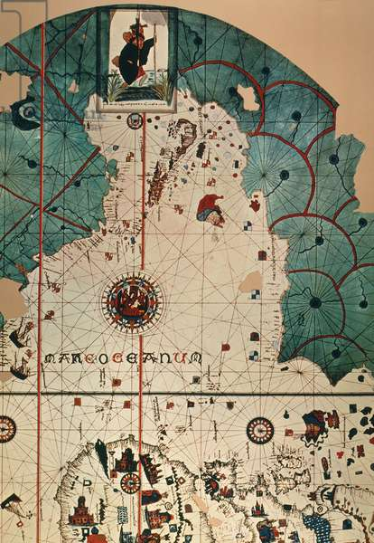 COSA: WORLD MAP, 1500 Upper part of the western half of the world map, 1500, of Juan de la Cosa, navigator on the Nina on Christopher Columbus' second voyage of 1493-94.