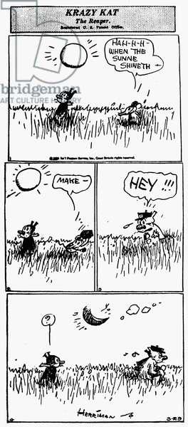 KRAZY KAT, 1929 American comic strip by George Herriman, 1929.
