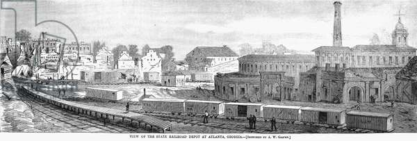ATLANTA: RAILROAD, 1864. View of the State Railroad Depot at Atlanta, Georgia, after the city was taken by General William Tecumsah Sherman in 1864. Wood engraving from a contemporary newspaper.