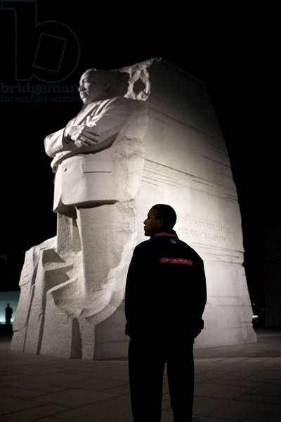 BARACK OBAMA (1961- ) 44th President of the United States. At the Martin Luther King, Jr. National Memorial in Washington D.C., 14 October 2011. Photograph by Pete Souza.