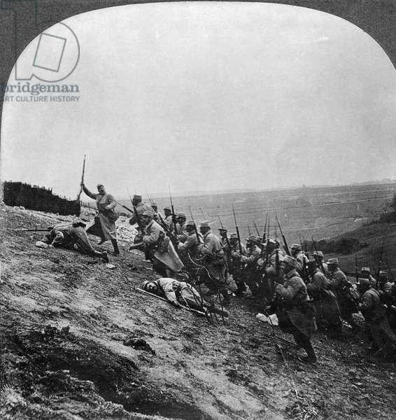 WWI: FRENCH ATTACK French soldiers storming the fort on Hill Notre Dame de Lorette, c.1915. From a stereograph view.
