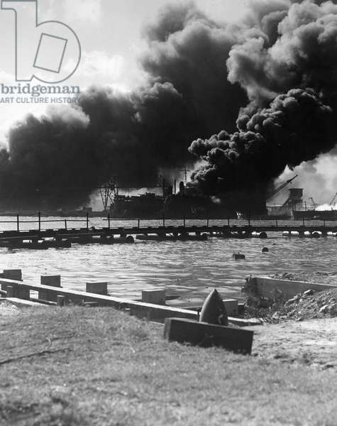 WORLD WAR II: PEARL HARBOR The USS Shaw in floating drydock after the Japanense attack on Pearl Harbor, 7 December 1941.