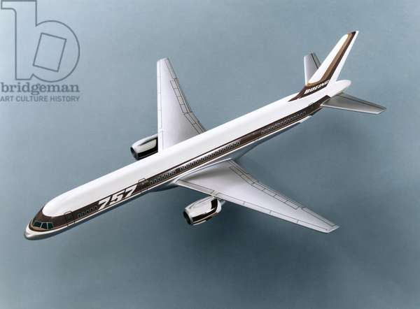 BOEING 757 AIRPLANE Model of the Boeing 757 passenger plane. Photograph, 1980s