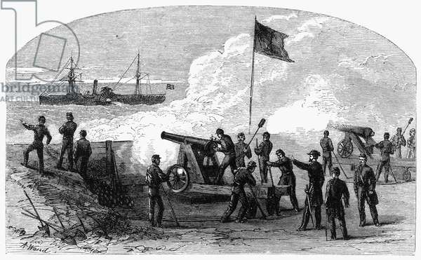 CIVIL WAR BATTERY Charleston harbor battery during the American Civil War. Engraving from a contemporary newspaper.