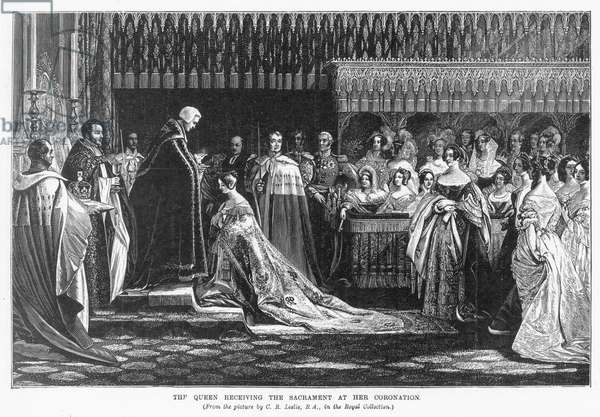 CORONATION: QUEEN VICTORIA The coronation of Queen Victoria (1837-1901), 28 June 1838. Engraving after Charles Robert Leslie.