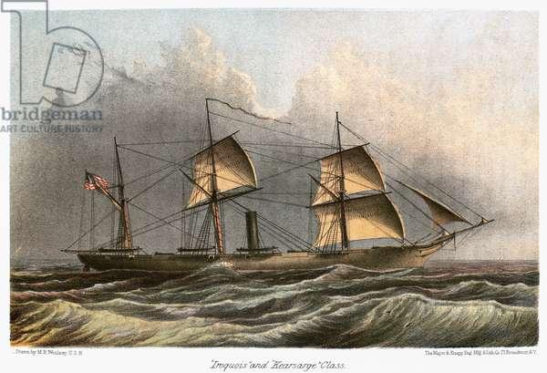 CIVIL WAR: USS KEARSARGE USS 'Kearsarge,' a Mohican-class sloop-of-war of the American Civil War. Color engraving, 19th century.