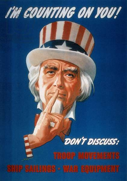 WWII: CARELESS TALK POSTER 'I'm Counting On You!' American World War II poster featuring Uncle Sam warning of the dangers of careless talk.