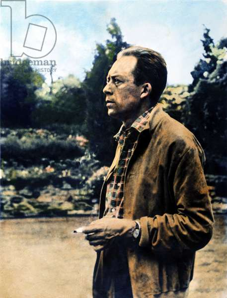 ALBERT CAMUS (1913-1960) French novelist, essayist, and playwright. Oil over a photograph, n.d.