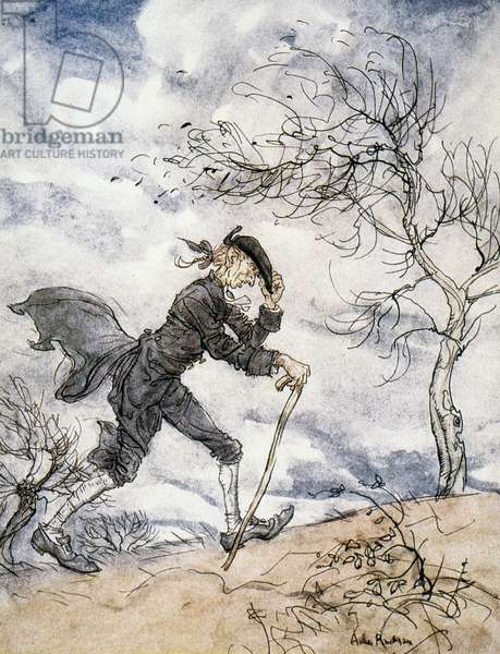 Ichabod Crane, illustration from 'The Legend of Sleepy Hollow,' by Washington Irving, 1928 (colour litho)