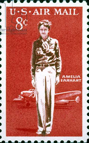 AMELIA EARHART (1897-1937) American aviator. Portrayed with a Lockheed Electra on a U.S. postage stamp, 1963.